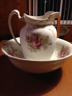 """Antique Water Pitcher and Basin Set """"Roses"""" 