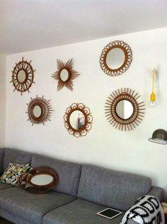 Mirror Wall Collage, Mirror Gallery Wall, Retro Bathrooms, Copper Frame, Home Decor Mirrors, Decorative Hooks, Salon Style, Bohemian Decor, Fabric Flowers