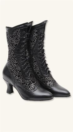 """""""Mystique"""" black boots with silver roses from Victorian Trading Co."""