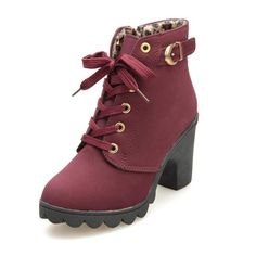 eb0b2d0209b Women Martin Boots Fashion High Heel Thick with Thick End Lace up Ankle  Boots Ladies Buckle Platform Shoes     We appreciate you for seeing our  photograph.