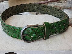 Green belt. Green leather belt. Silver Buckle by rebekajewelry