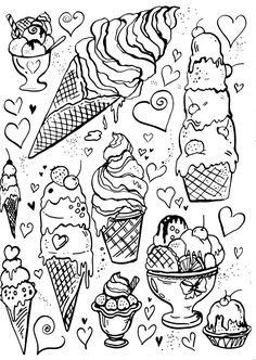 Livro de Colorir Arteterapia Criativa - Adult Coloring pages ice cream