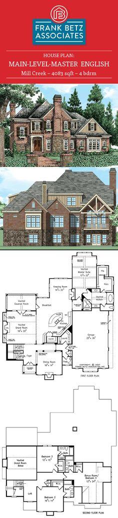 Mill Creek: 4083 sqft, 4 bdrm, English style house plan design by Frank Betz Associates Inc. European House Plans, Luxury House Plans, Home Design Plans, Plan Design, Frank Betz, Mill Creek, English Style, House Floor Plans, Curb Appeal