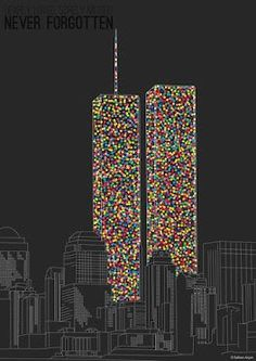 There are 2606 dots to represent those who perished at the WTC Twin Towers on 9/11/2001.