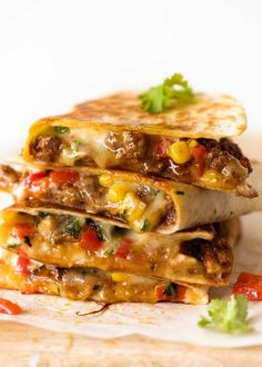 Quesadilla (Beef, Vegetable or Chicken) Crispy golden on the outside, molten cheesy goodness on the inside. Choose from THREE Quesadilla Healthy Dinner Recipes, Mexican Food Recipes, Beef Recipes, Cooking Recipes, Ethnic Recipes, Milk Recipes, Diner Recipes, Skillet Recipes, Cooking Tools