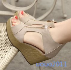 Womens Hot Summer Korean Wedge high Heels Peep Toe Platform Sandals Shoes NEW in Clothing, Shoes & Accessories, Women's Shoes, Sandals & Flip Flops Pump Shoes, Wedge Shoes, Shoes Heels, Pumps, Platform Shoes, Pretty Shoes, Beautiful Shoes, Sock Shoes, Shoe Boots