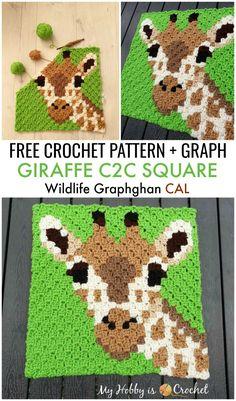 "Free Crochet Pattern + Graph: ""Giraffe Square"" - block 9 of the Wildlife Gra. - knitting blanket , Free Crochet Pattern + Graph: ""Giraffe Square"" - block 9 of the Wildlife Gra. Free Crochet Pattern + Graph: ""Giraffe Square"" - block 9 of th. Crochet Pixel, Crochet C2c, Crochet Gratis, Crochet Motifs, Crochet Blocks, Crochet Squares, Crochet Baby, Crochet Borders, Crochet Afghans"