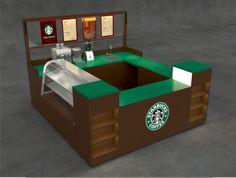 Starbucks Coffee kiosk. Wood grain, all aluminum, lighting, electrical. www.Cart-King.com