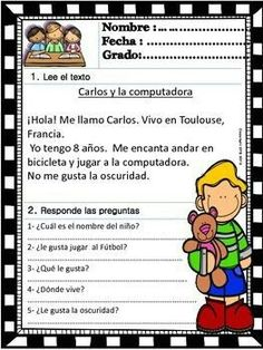 Spanish Reading Comprehension Worksheet