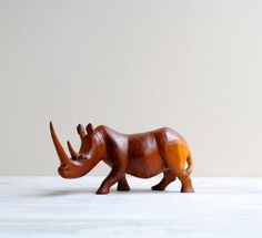 Vintage Hand Carved Wood Rhino Figure by LittleDogVintage on Etsy