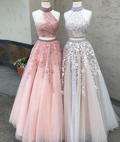 Sexy Two-Piece High Neck Tulle Long Prom Dress with Appliques Cheap Evening Dress from Ulass#promdress2018#graduationdress#eveningdress2018#dress#dresses#gowns#partydress#longpromdress#promdresses