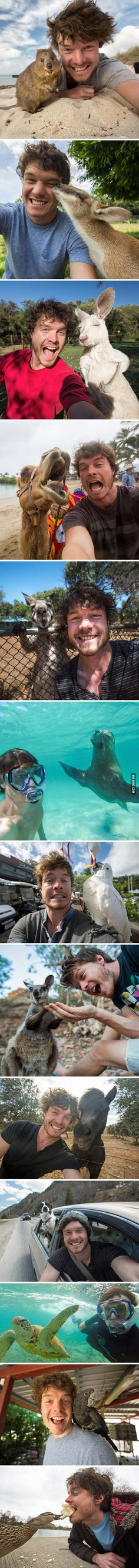 This Guy Mastered The Art Of Animal Selfies.  He is awesome :D