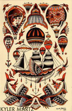 air balloon flash - My list of best tattoo models Dessin Old School, Old School Ink, Ballon Illustration, Desenhos Old School, Tattoo Tradicional, Tattoo Flash Sheet, Famous Tattoos, Traditional Tattoo Design, Traditional Tattoo Flash
