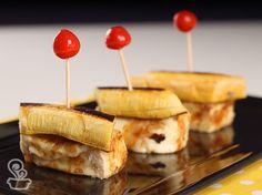 banana com queijo coalho grelhado