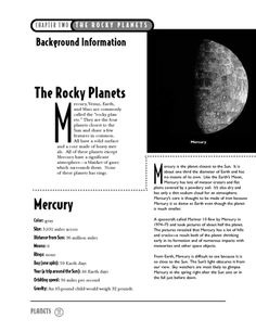 The Rocky Planets info on Mercury and Venus. Activity for Jupiter.