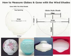 How To Measure Light Shade Globes & Gone with the Wind Shades. Explains Lighting terms and how to measure the Fitter and Bulge diameter and the Height.