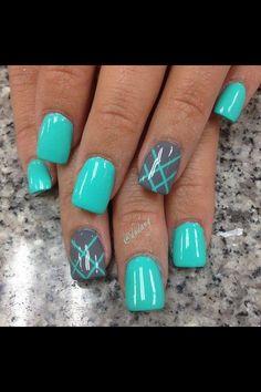 Blue w/ gray nails c: