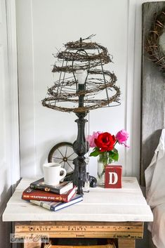 sweet!  love her stuff.....Twig and wire cage lampshade by Funky Junk Interiors