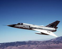 Convair F-106 Delta Dart. USAF. Developed in the 1950s, it served as the primary all-weather interceptor for the Air Force from the 1960s through the 1980s. External drop tanks extended its range and it was armed with air-to-air missiles only, which were carried internally. It was replaced by the F-15 Eagle from McDonnell Douglas.