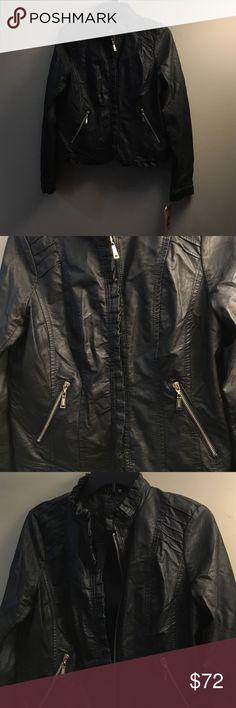 Vegan Leather Jacket Black faux leather jacket. Main zipper, as well as front diagonal pocket zips. Ruffle trip on bottom, around collar, and on base of sleeves. Jou Jou Jackets & Coats