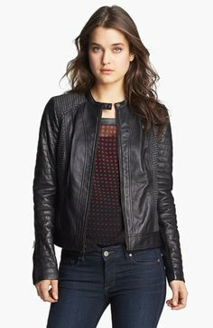 Trouvé Houndstooth Panel Quilted Leather Moto Jacket | Nordstrom