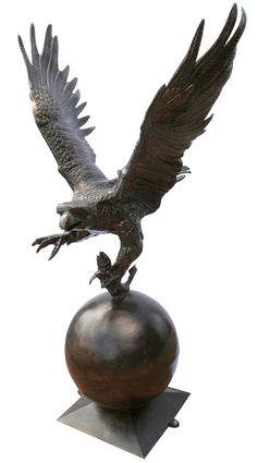 Eagle On Ball Metal Garden Statue Bronze Color Recycled Aluminum Art
