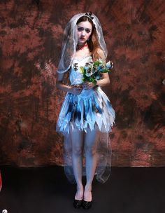 Classical Corpse Bride Fancy Dress Womens Halloween Costume