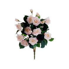 Rose Bush in Light Peach (€5,22) ❤ liked on Polyvore featuring home, home decor, floral decor, flowers, flower arrangement, rose arrangement, silk rose bouquet, silk flower bouquets and silk flower stems