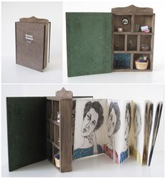 """Artists' book by Naz Rahbar. """"Binding Grandma"""", Drypoint prints, found objects, handmade papers. June 2012."""