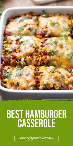 Best HAMBURGER CASSEROLE - Enjoy The Recipes #casserole #dinner #easydinner #recipes #hamburger
