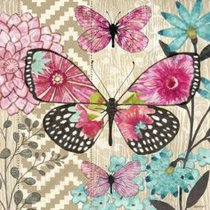 quenalbertini: For decoupage Butterfly Wallpaper, Butterfly Flowers, Beautiful Butterflies, Vintage Pictures, Vintage Images, Art Papillon, Illustration, Vintage Paper, Scrapbook Paper