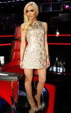Gwen Stefani's Stylists Reveal Why Her Looks on The Voice Were Completely Different - Little Gold Dress - from InStyle.com
