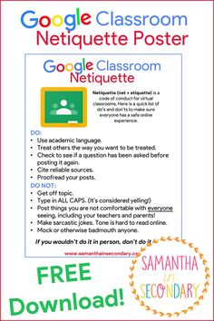 Use this netiquette poster to display best practices for our virtual classrooms!