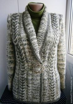 Aisling by Justyna Lorkowska, pattern available on Ravelry. Knit Cardigan Pattern, Sweater Knitting Patterns, Jacket Pattern, Knitting Designs, Knitting Stitches, Knit Patterns, Oversized Mantel, Gilet Crochet, Knitted Coat