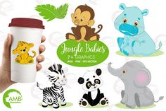 These cute Safari or Jungle animal babies are so cute and barely able to walk...  Jungle babies include panda clipart, Leopard clipart, elephant clipart, monkey clipart, hippo clipart, zebra clipart! #ad.