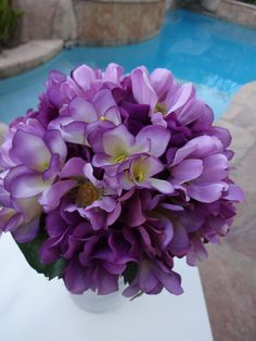 2 Piece bridesmaid bouquet in purple and by AlwaysElegantBridal, $39.00