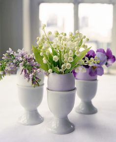 lily of the valley, lilac and pansies... in a egg ... adorable for Easter Brunch