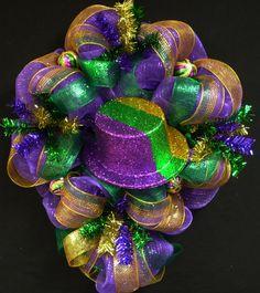 Poly Mesh, Mardi Gras Wreath, Top Hat, Front Door Decor Deco Mesh Wreaths - Item…