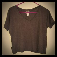 Crop tee with v-neck short sleeves Army green loose short tee with v-neck, never worn/washed Scratch Tops