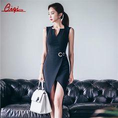2016 Summer Elegant Women Business Dress V-neck sexy split black OL Office Work Tunic Bodycon Sheath Casual Pencil Dresses