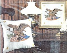 Vintge Patriotic AMERICAN EAGLE Linen Pillow CREWEL EMBROIDERY Stitchery KIT USA #AVON