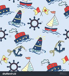 Seamless baby background with sea, ship and lighthouse