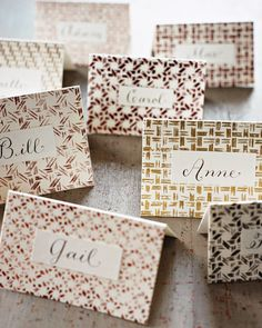 Basket-Weave Place Cards   Martha Stewart Living - Use swatches of caning to print designs for custom place cards. Create matching cards or use a variety of patterns and colors to add textural richness to the table.