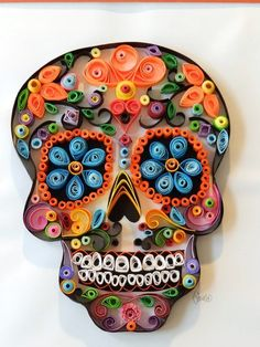paper quilling - Sugar Skull Paper Quill, Day of the dead art Quilled Paper Art, Paper Quilling Designs, Quilling Paper Craft, Quilling Patterns, Quilling Ideas, Quilling Supplies, Neli Quilling, Quilling Tutorial, Origami