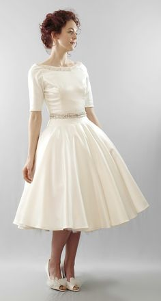 Christy  Silk duchess satin full skirt tea by AlexandraKingBridal, £1590.00
