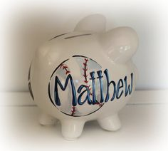 Personalized baseball theme piggy bank for sale in my etsy store