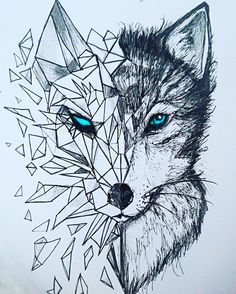 Discover thousands of images about nice Geometric Tattoo - geometric wolf tattoos: Yandex. Wolf Tattoos, Animal Tattoos, Leg Tattoos, Tatoos, Animal Drawings, Cool Drawings, Beautiful Drawings, Sketches Of Animals, Drawing Animals
