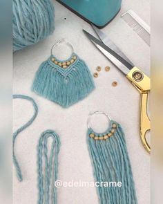 Sharing this tutorial ; part 1 ( part 2 is in the next post) how to make macrame… Sharing this tutorial ; part 1 ( part 2 is in the next post) how to make macrame earrings. hope you guys like it 😊 . Macrame Earrings Tutorial, Earring Tutorial, Macrame Necklace, Diy Yarn Earrings, Gold Earrings, How To Make Earrings, Tassel Earrings, Crystal Earrings, Crystal Jewelry