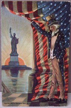 Postcard Patriotic Statue of Liberty Uncle Sam Copyright 1907