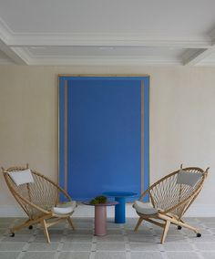 Modern wall art and chairs